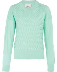 3.1 Phillip Lim Green Wave Cotton-Cashmere Blend Jumper - Lyst