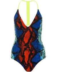House of Holland - Roxy For Blue Snake Swimsuit - Lyst