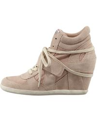 Ash Suede Canvas Wedge Sneaker Chamois - Lyst