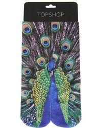 TOPSHOP - Digital Double Peacock Print Socks - Lyst
