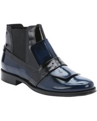 Tod's | Blue And Black Leather Loafer Slip-on Chelsea Booties | Lyst
