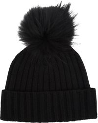 Barneys New York Faux Fur Pompom Beanie black - Lyst