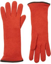 Barneys New York Orange Double-Knit Gloves - Lyst