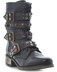 Steve Madden Lilianne Studded Buckle Boots Black - Lyst