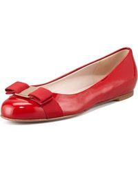 Ferragamo Varina Patent Ballerina Flat - Lyst