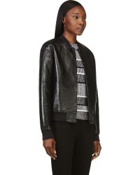 T By Alexander Wang Black Grained Lambskin Bomber Jacket - Lyst