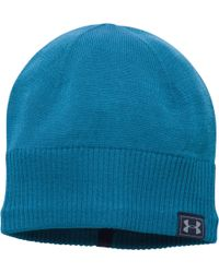 ed34d0be276 Lyst - Under Armour Coldgear Infrared Running Beanie in Blue for Men