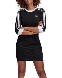 90a46846b6 adidas Originals Originals Black Three Stripe Hoodie Maxi Dress in ...