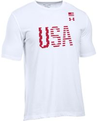Lyst Under Armour Usa Graphic Tee In Blue For Men