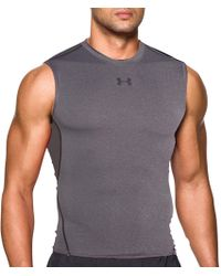 7dbdd502 Under Armour Heatgear Armour Compression Sleeveless Shirt in Blue for Men -  Lyst