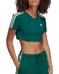 2b22c35b8246e Lyst - adidas Originals Tape Crop T-shirt in Green