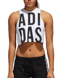 adidas - Cropped Graphic Tank Top - Lyst