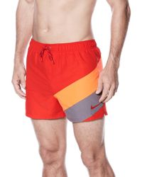 e0c3d3a4bf Lyst - Nike Men's Swift Striped Volley Swim Trunks in Red for Men