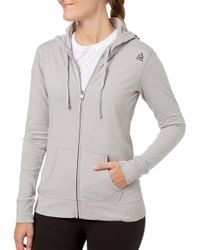 Reebok - Heather Core Cotton Jersey Zip Front Hoodie - Lyst
