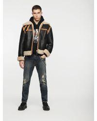 DIESEL - Reversible Jacket In Treated Leather - Lyst