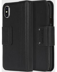 DIESEL - Black Lined Leather Folio, Iphone X - Lyst