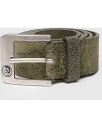 DIESEL - Vintage Leather Belt With Mohawk Logo - Lyst