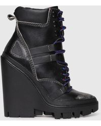 DIESEL - Leather Ankle Boots With Scuffed Toes - Lyst