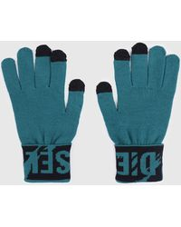 DIESEL - Wide Cuff Gloves With Contrasting Logo - Lyst