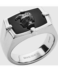 DIESEL - Black Agate Ring - Lyst