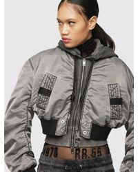 DIESEL - Cropped Bomber Jacket With Hood - Lyst