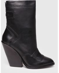 DIESEL - Leather Ankle Boots With Cuban Heel - Lyst
