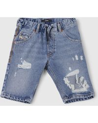 DIESEL - Destroyed Effect Short Trousers - Lyst