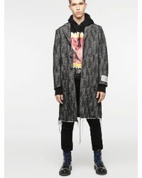 DIESEL - Wool Coat With Frayed Hem And Label Patch - Lyst