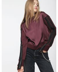 DIESEL - Sweatshirt In Glossy Satin And Cotton - Lyst