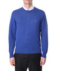 cb8e6dccffbe1 Vivienne Westwood Block-colour V-neck Wool Jumper in Gray for Men - Lyst