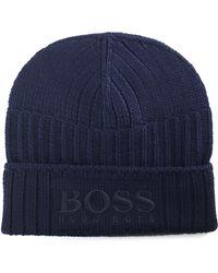 BOSS Orange - Men's Fenno Logo Beanie Dark Blue - Lyst
