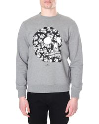 576f9d5186bb Paul Smith - Light Grey  monkey Skull  Print Organic-cotton Sweatshirt -  Lyst