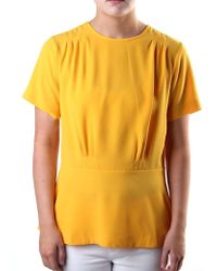 Michael Kors - Pleated Short Sleeve Ailine Top Yellow - Lyst