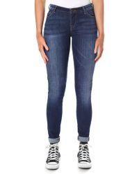 1121e71f4d6 Armani Jeans - Women s Mid Wash Push Up Skinny Jean Blue Denim - Lyst