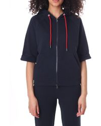 Emporio Armani - Women's Zip Through Hooded Sweat Top Blue Navy - Lyst