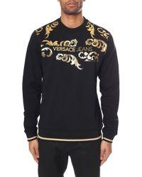 2e781742198 Versace Jeans - Men s Baroque Foil Print Crew Neck Sweat Top Black - Lyst