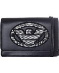Emporio Armani - Women's Embellished Eagle Sling Bag Black - Lyst