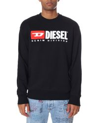 DIESEL - Denim Division Crew Neck Sweat Top - Lyst