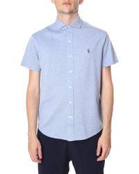 Polo Ralph Lauren - Men's Custom Slim Fit Short Sleeve Shirt Blue Heather - Lyst