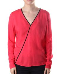 Armani Jeans - Crossover Trim Long Sleeve Top - Lyst