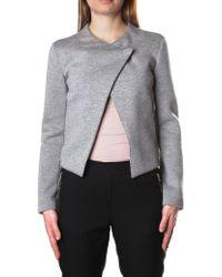Armani Jeans - Asymmetric Women's Chest Fastening Jacket Light Grey - Lyst