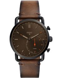 Fossil - Q Commuter Leather-strap Brown Dial Hybrid Smartwatch - Lyst