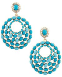 Belle By Badgley Mischka | Metallic Patina Drop Fish Hook Earrings | Lyst