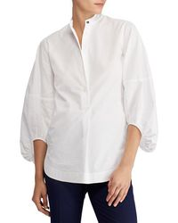 Lauren by Ralph Lauren - Bishop Sleeve Broadcloth Shirt - Lyst