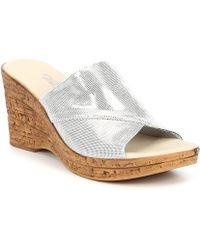 70b6eb314aa Onex - Christina 2 Shimmer Cork Wedge Slide Sandals - Lyst. Steve Madden ...