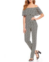 Sugarlips - Off The Shoulder Ruffle Flounce Leopard Print Jumpsuit - Lyst
