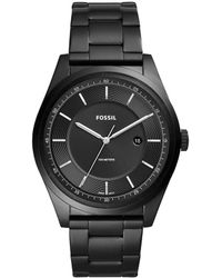Fossil - Mathis Three-hand Date Black Stainless Steel Watch - Lyst