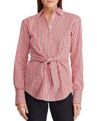 3f0a8f88ded Lauren by Ralph Lauren - Petite Size Striped Tie-front Cotton Shirt - Lyst