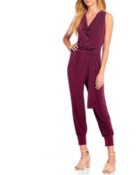 Kenneth Cole - Cowl Neck Tie Waist Banded Bottom Pull-on Jumpsuit - Lyst
