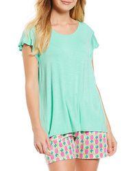 Hue - Tique Flutter-sleeve Knit Sleep Top - Lyst